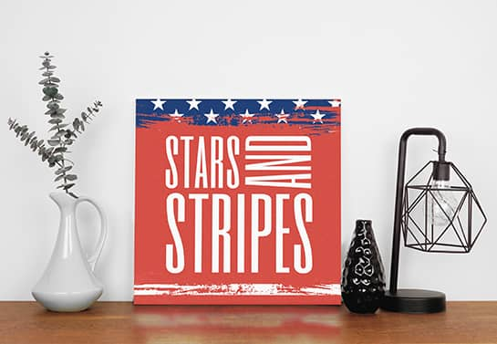 4th of July sign idea displaying the USA flag with star symbols and the word Stripes