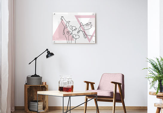 home office guest room decorating idea with an animals line drawing print