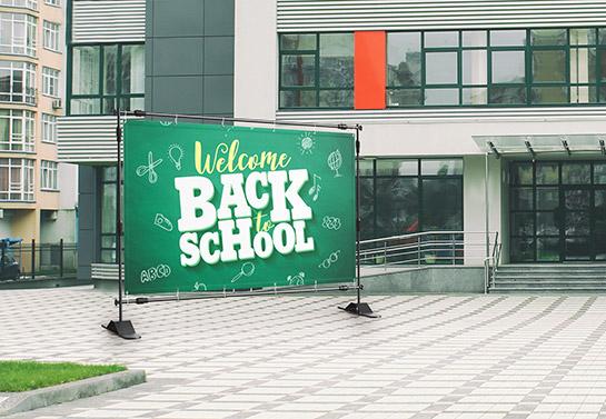 big school backdrop idea in dark green for back to school