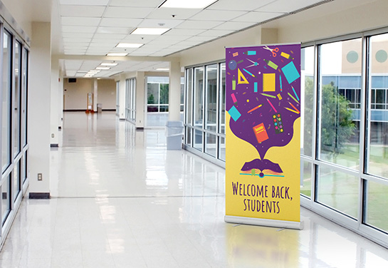 colorful back to school banner idea displayed indoors
