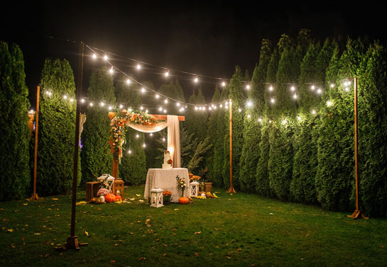 backyard string lights as a  garden wedding decoration idea