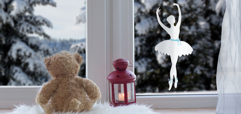 cute home window decorating idea for girls with a ballerina decal
