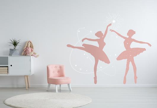 girls bedroom wall idea with pink ballerina graphics