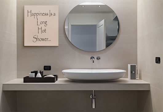 Happiness is a Long Hot Shower canvas idea