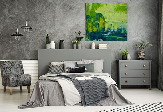 bedroom gradient print decor idea