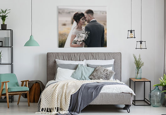 bedroom personal print decor idea