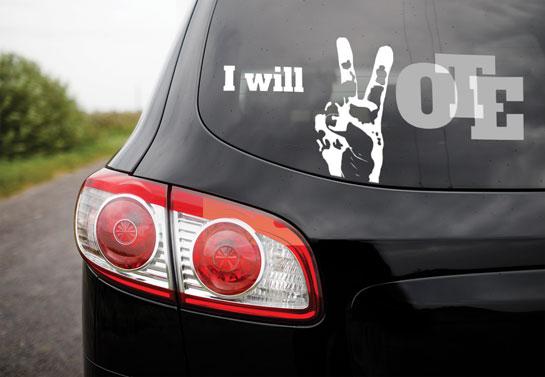 I Will Vote black and white political sign design idea