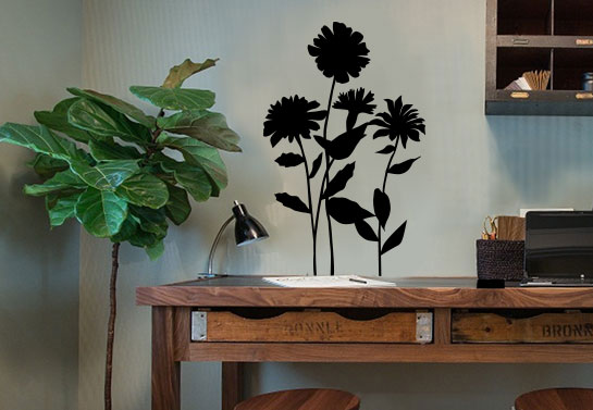 black flowers wall decal for rustic home office decorating