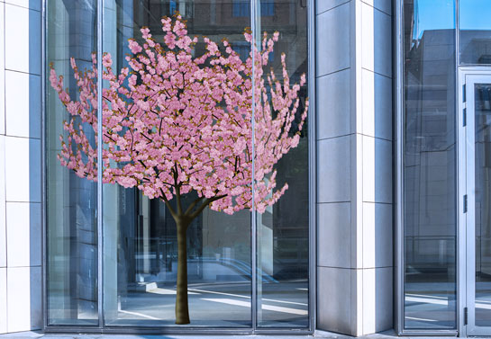 spring themed blossom office window decor idea