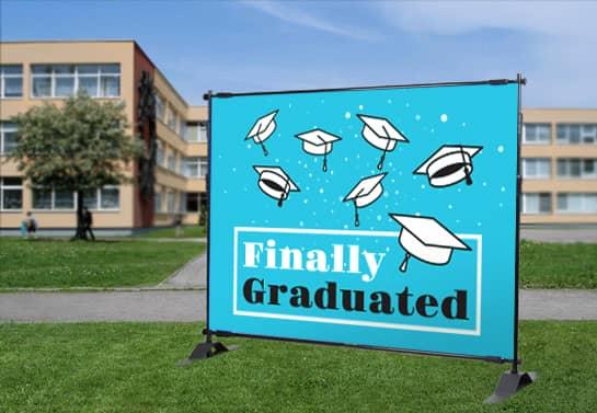 school graduation banner idea in light blue