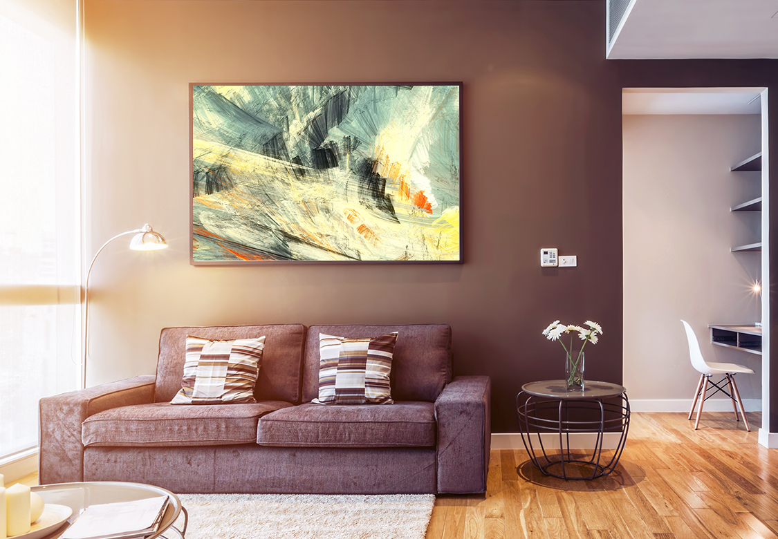 construction option for a canvas print with a landscape imagery