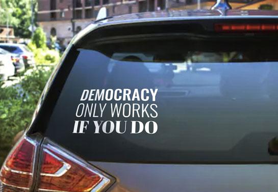 rally sign idea on car window
