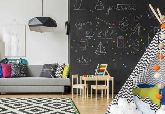chalkboard painted kids room wall idea with mathematical formulas