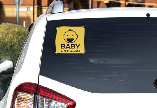 cute yellow back window decal for child notice