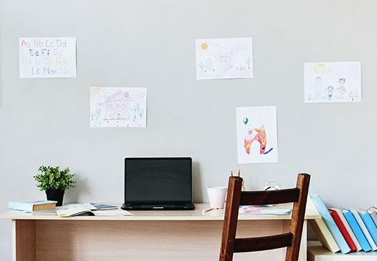 children's drawing decorating idea for home office guest room
