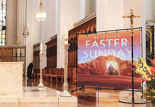 Easter wall decoration idea for church displaying the words Easter Sunday