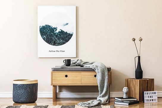 decorating idea for study guest room with a nature scene circle-shaped print