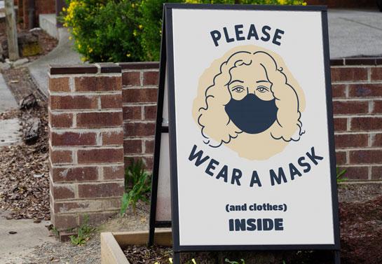 Please Wear A Mask And Clothes Inside funny funny salon sandwich board design idea