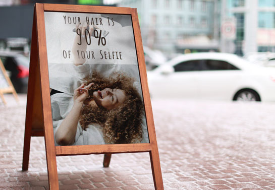 Your Hair Is Your Selfie clever salon board message
