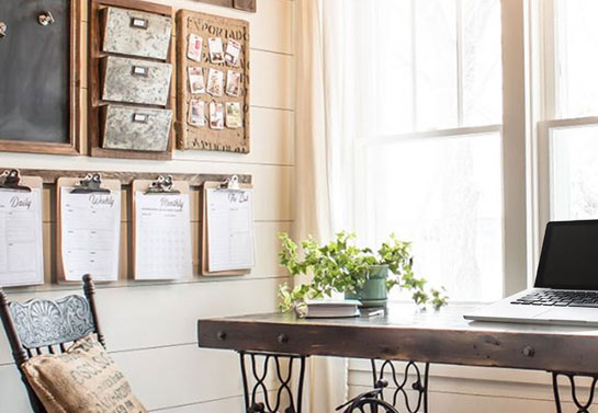 command center for rustic home office