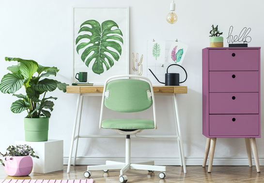 home office in green and purple complementary color scheme