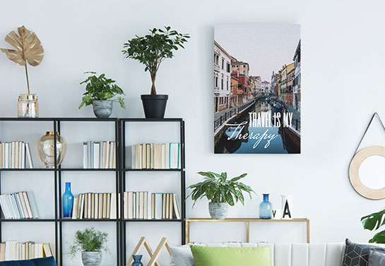 """Travel is Therapy"" cool canvas idea for library wall decorating"