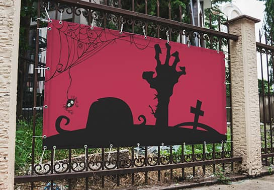 creepy Halloween banner design in pink and black