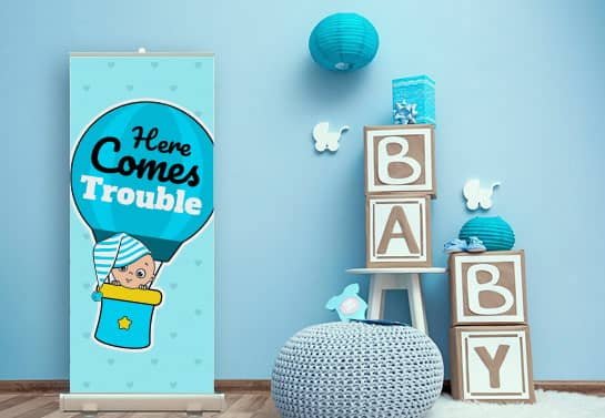 cute baby shower banner idea with a funny quote