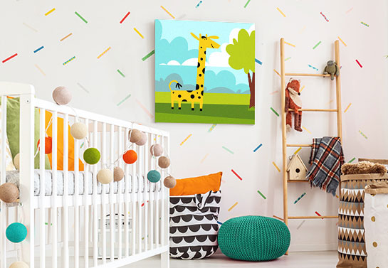 cute giraffe illustration canvas print idea for kid's room decorating