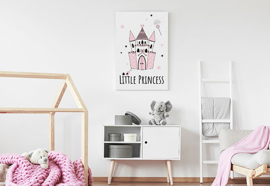 cute girl's room canvas idea in pink and white color scheme