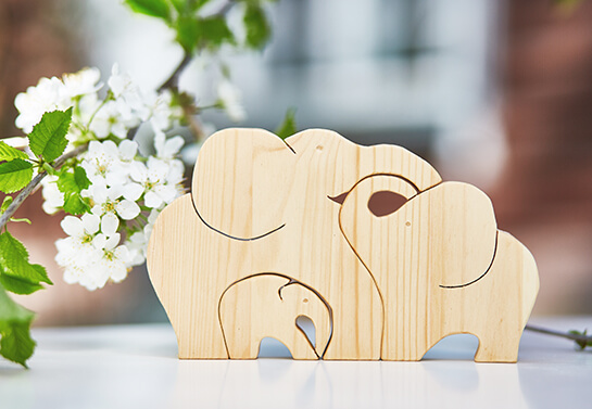 Elephant family puzzle woodwork idea for mother's day