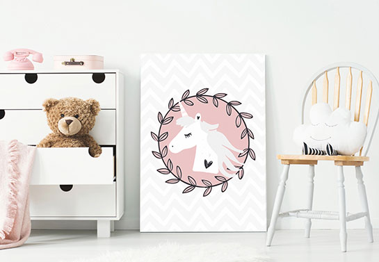 cute unicorn canvas print idea in pink and white color scheme for girl's room decorating