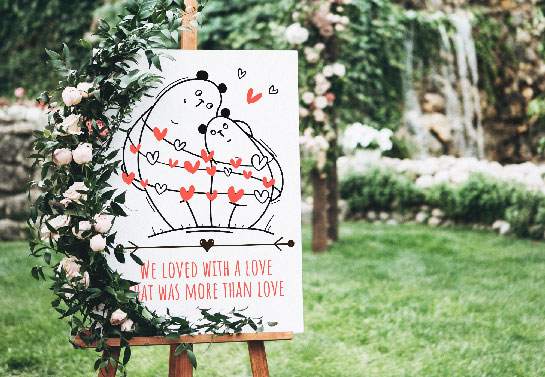 wedding signboard idea with cute bears and a love quote