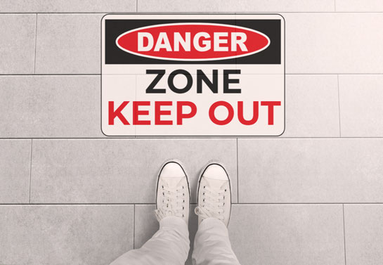 danger zone keep out floor sticker