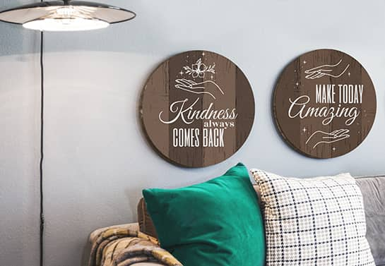 decorative wood sign ideas shown on the wall