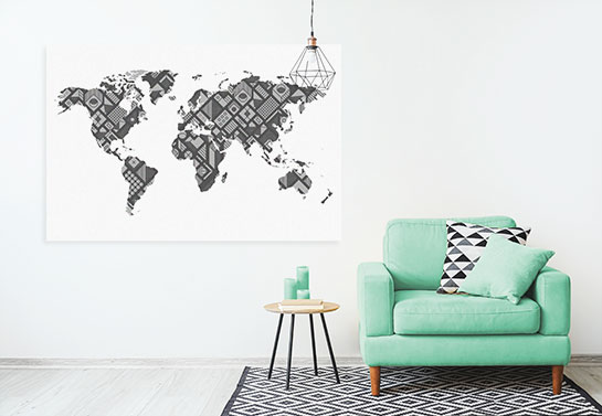 world map wall decor office guest room idea