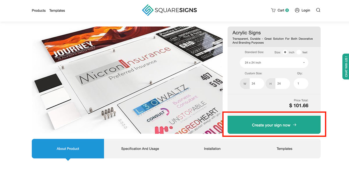 Squaresigns product page screenshot