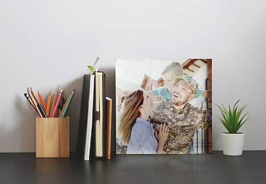 acrylic desk accessory gift idea for veterans with a family photo
