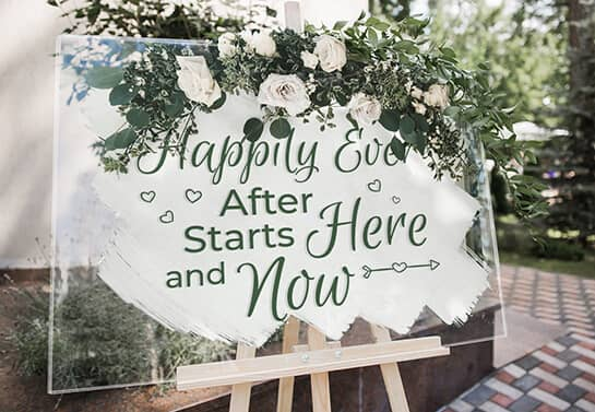 diy acrylic wedding sign idea displaying a love quote