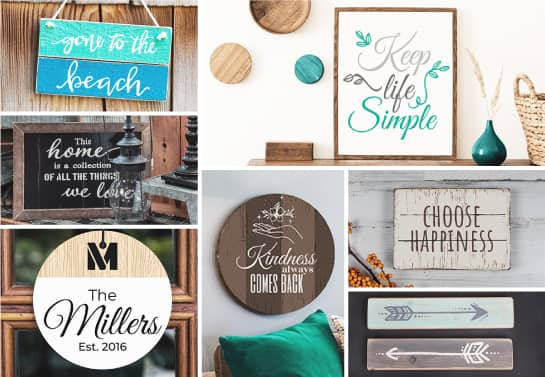 DIY wood signs collection with a big variety of signs with different quotes, colors and patterns