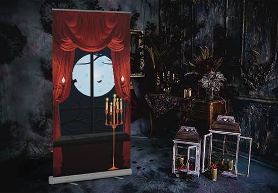 Dracula-themed Halloween backdrop in a dark room