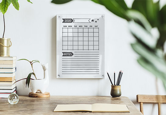 decorating idea for a study guest room with a dry-erase calendar to take notes