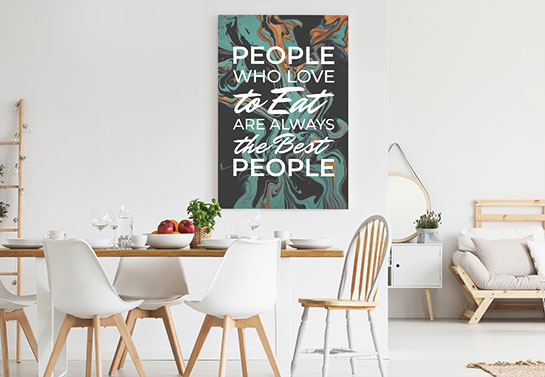 funny eating quote canvas idea with abstract design patterns on a dining room wall