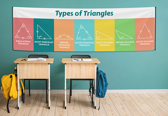 educational classroom banner idea displaying the types of triangles