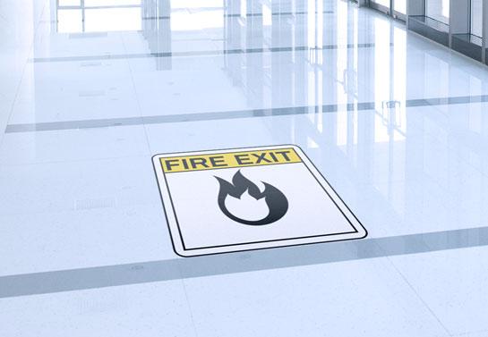 emergency exit floor sticker idea