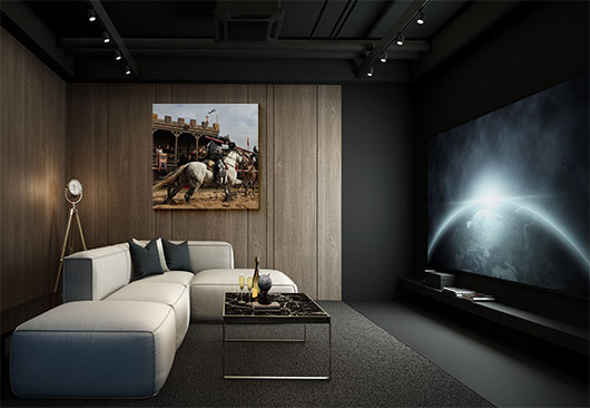 entertainment room movie scene print decor