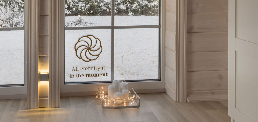 an idea on how to decorate home window with eternity symbol