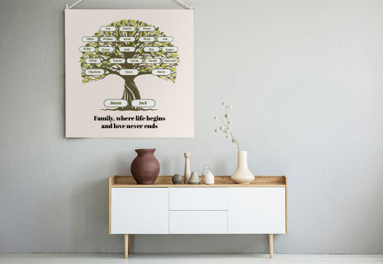 family reunion banner idea with a family tree print