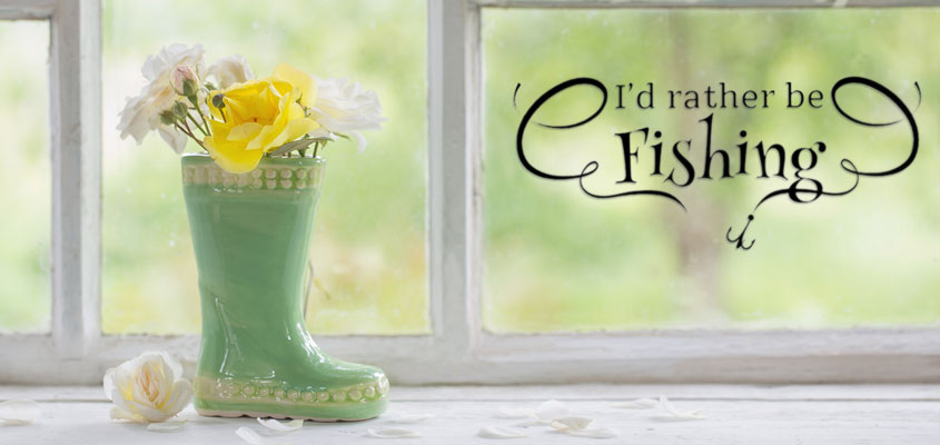 home window decorating idea with a fishing quote decal
