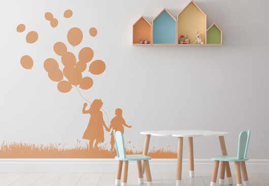 kids room wall art idea with flying friends silhouette graphics
